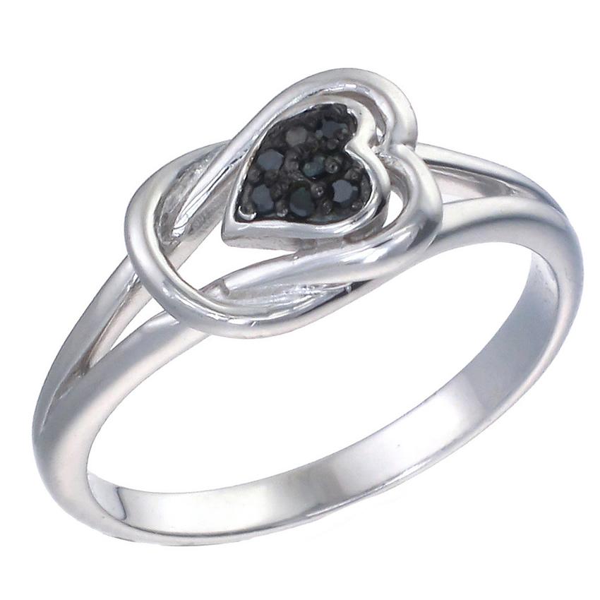 sterling silver black diamond heart ring 1 20 ct ebay. Black Bedroom Furniture Sets. Home Design Ideas