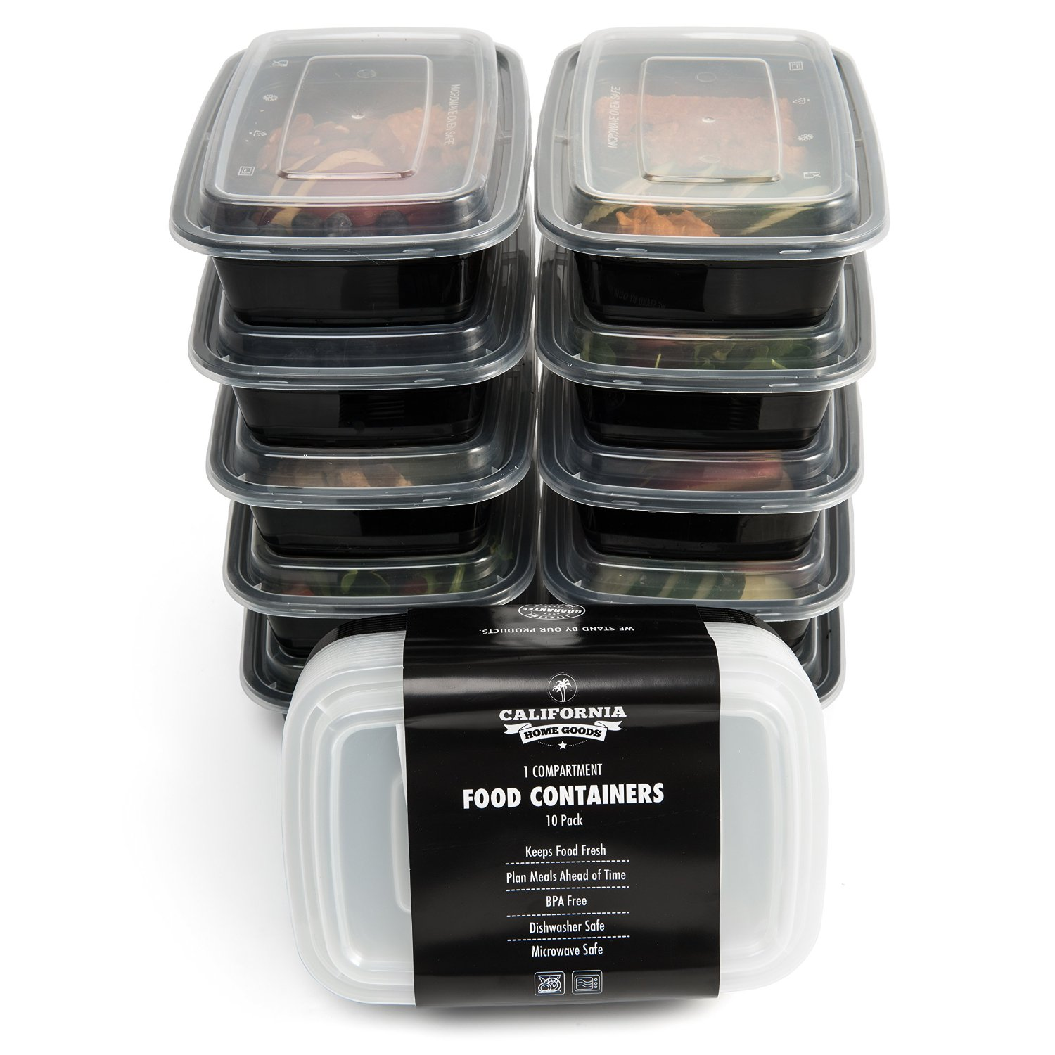 10 Meal Prep Food Containers 1 Compartment Bpa Free