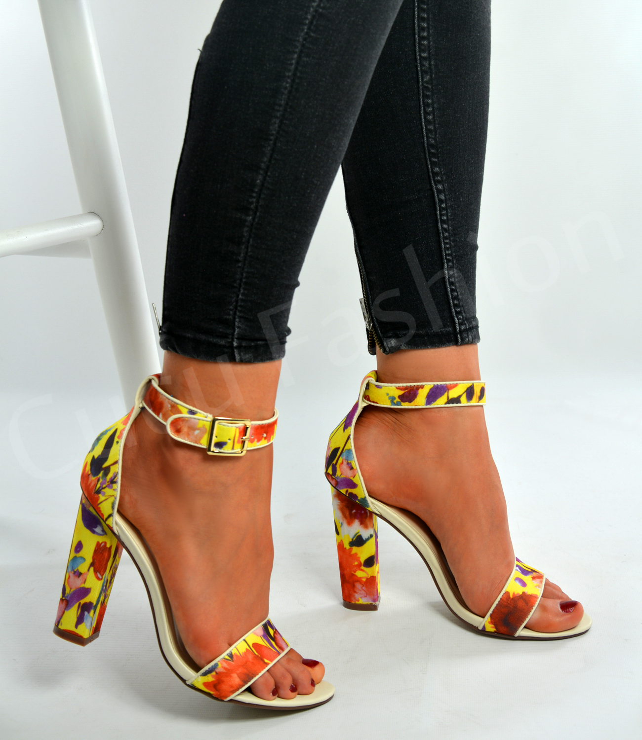 New Womens Floral Print Ankle Strap Sandals Ladies High ...