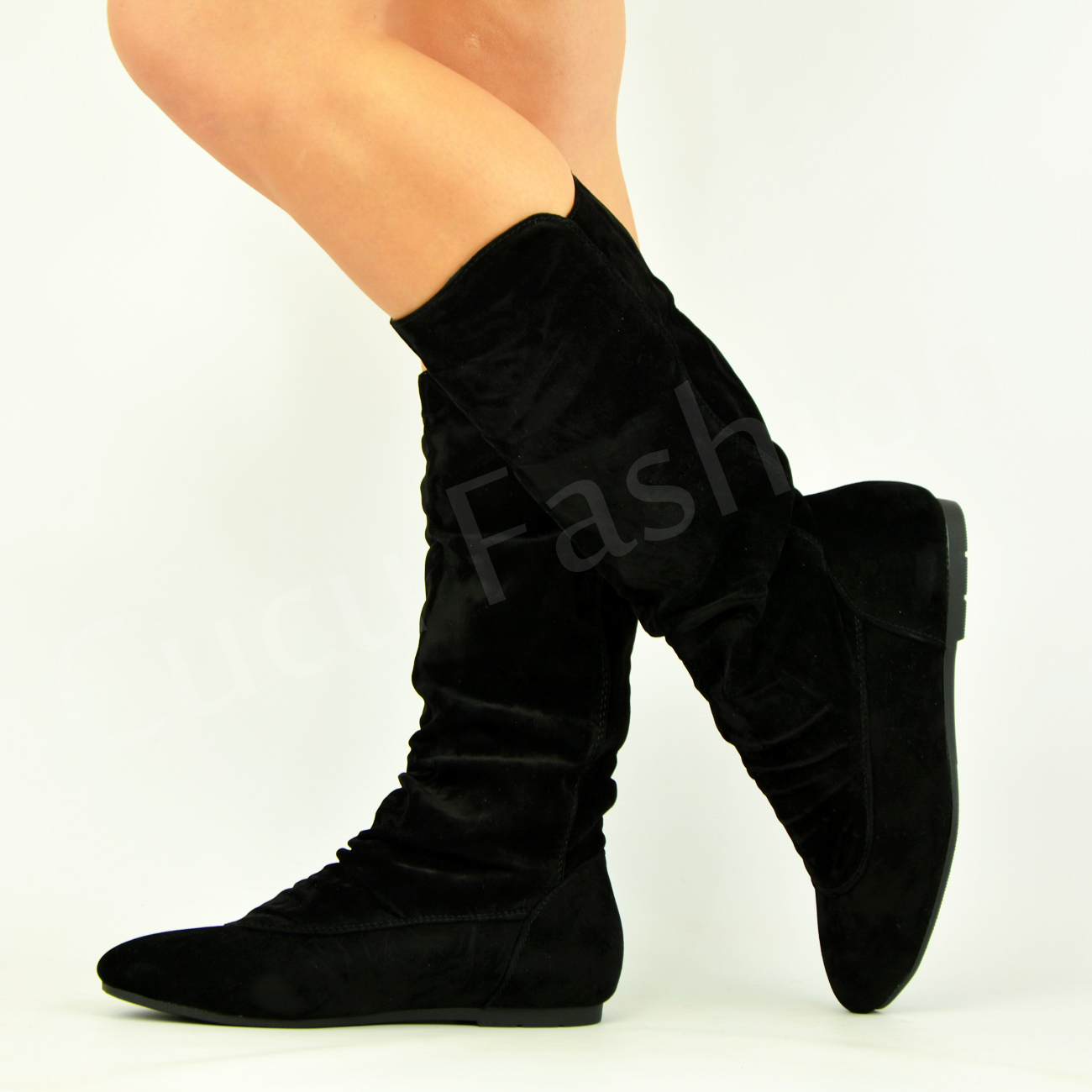 New Womens Ladies Low Flat Heel Pull On Mid Calf Boots ...