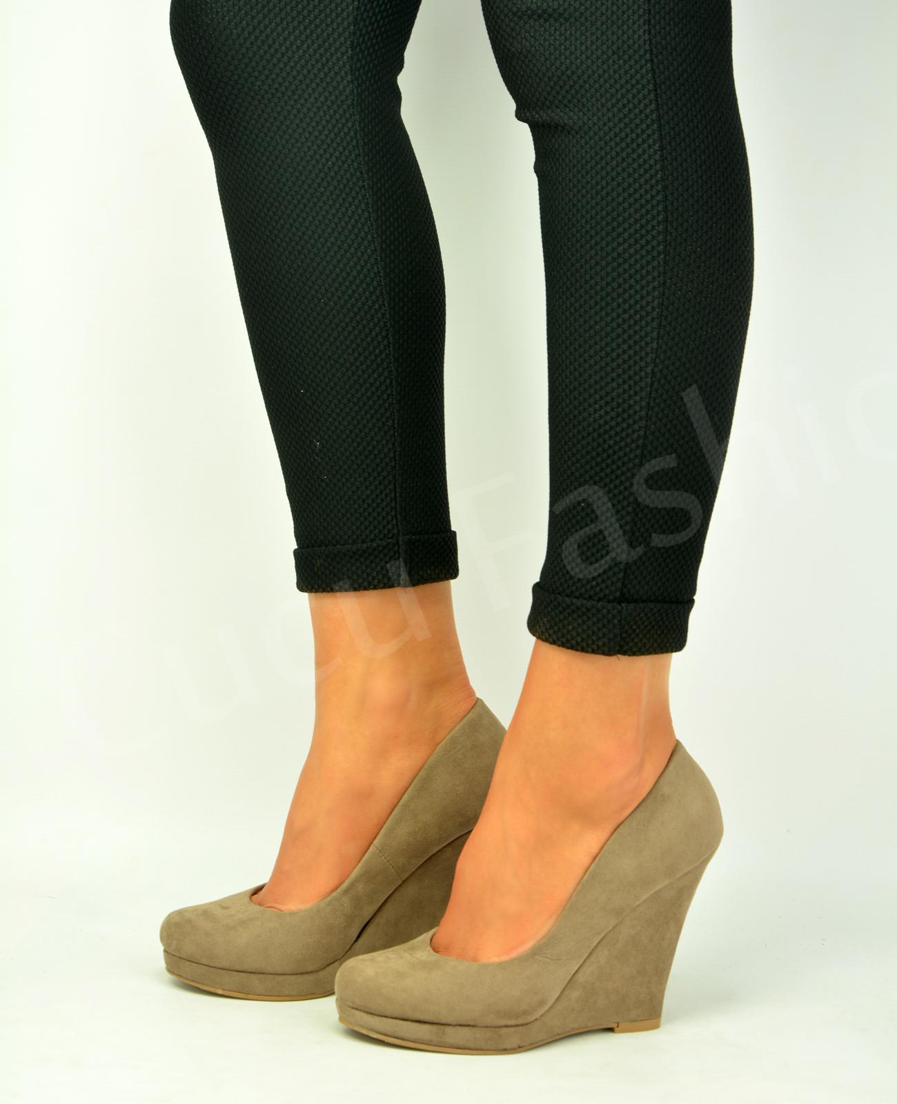 New Womens Wedge Heel Pumps Ladies Pull On Closed Toe