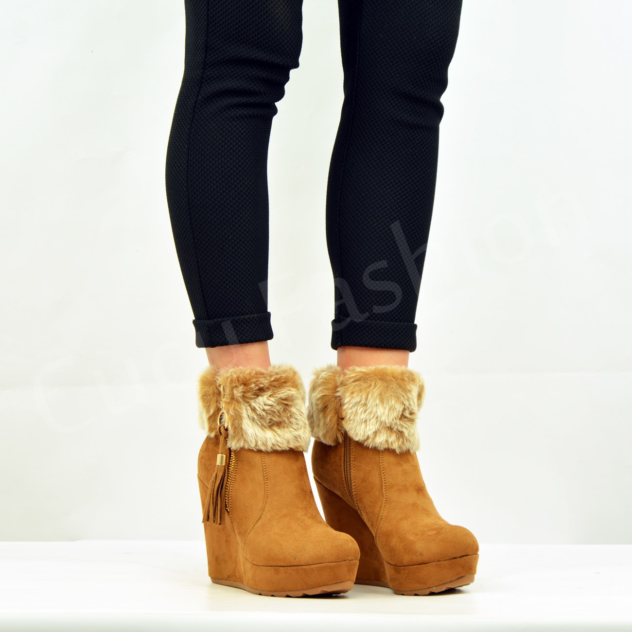 New Womens Fur Lined Ankle Boots Ladies Wedge Platforms