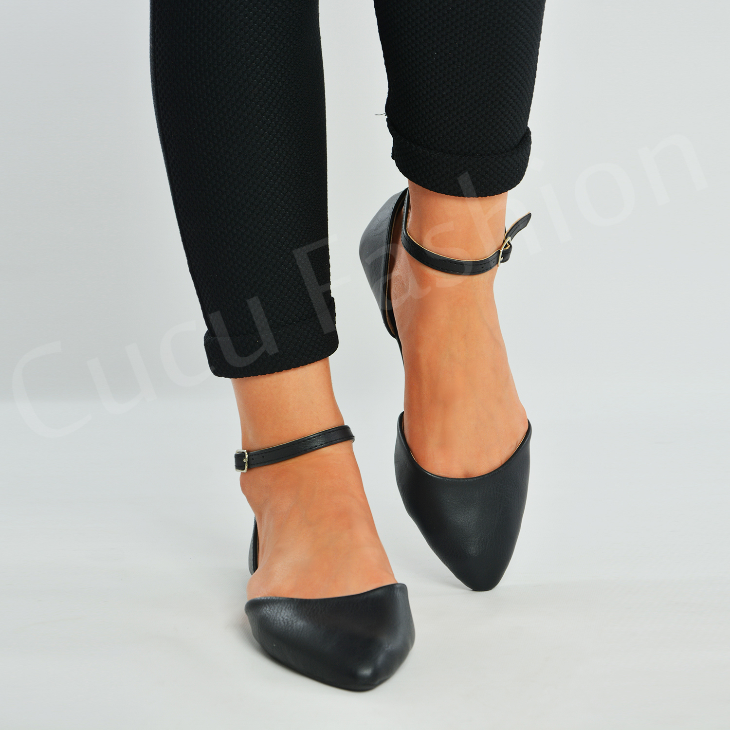 Flat Court Shoes With Strap