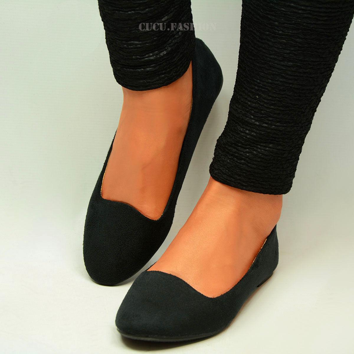 Womens Ballerina Ballet Dolly Pumps Ladies Flat Black ...