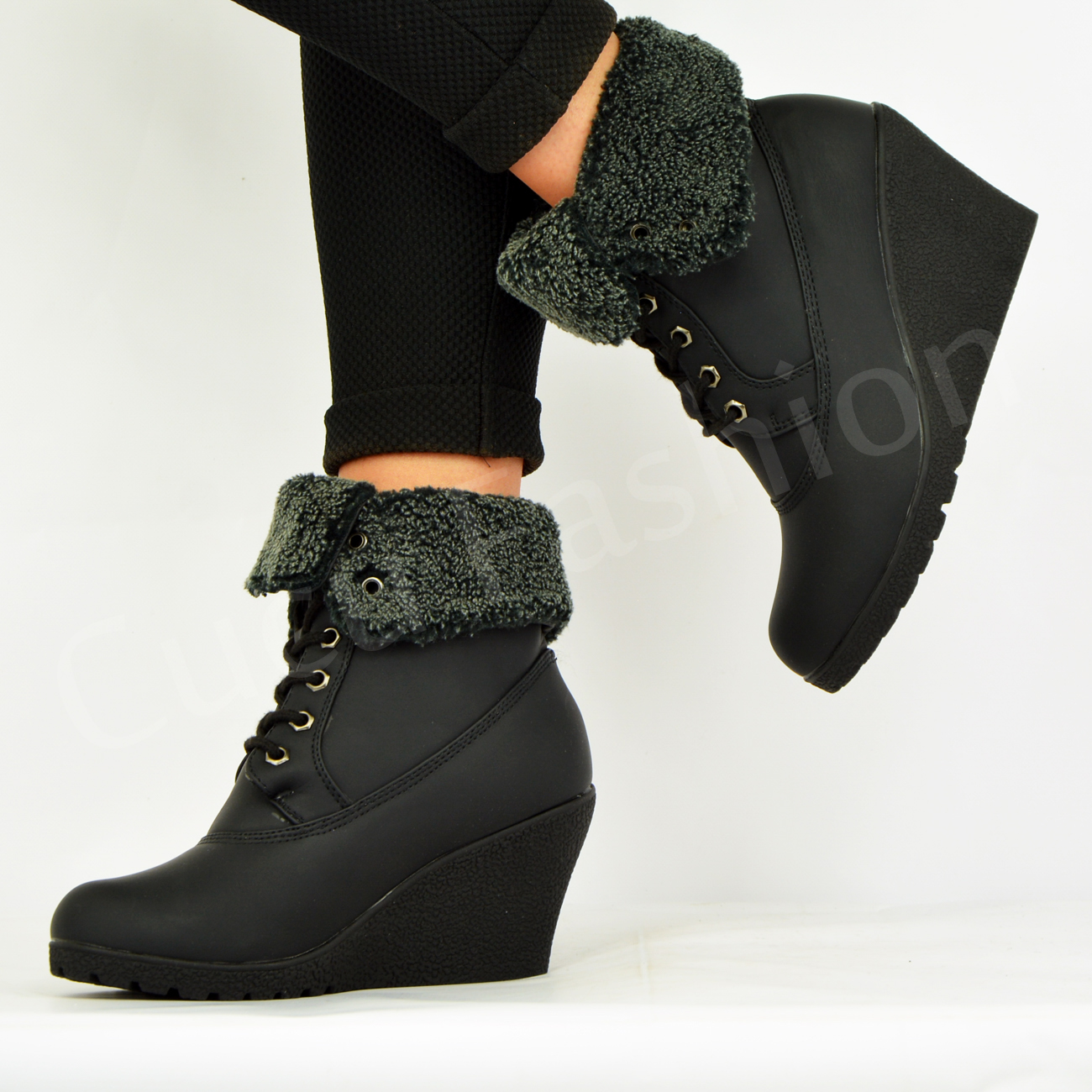 New Womens Fur Lined Ankle Boots Ladies Wedge Platform