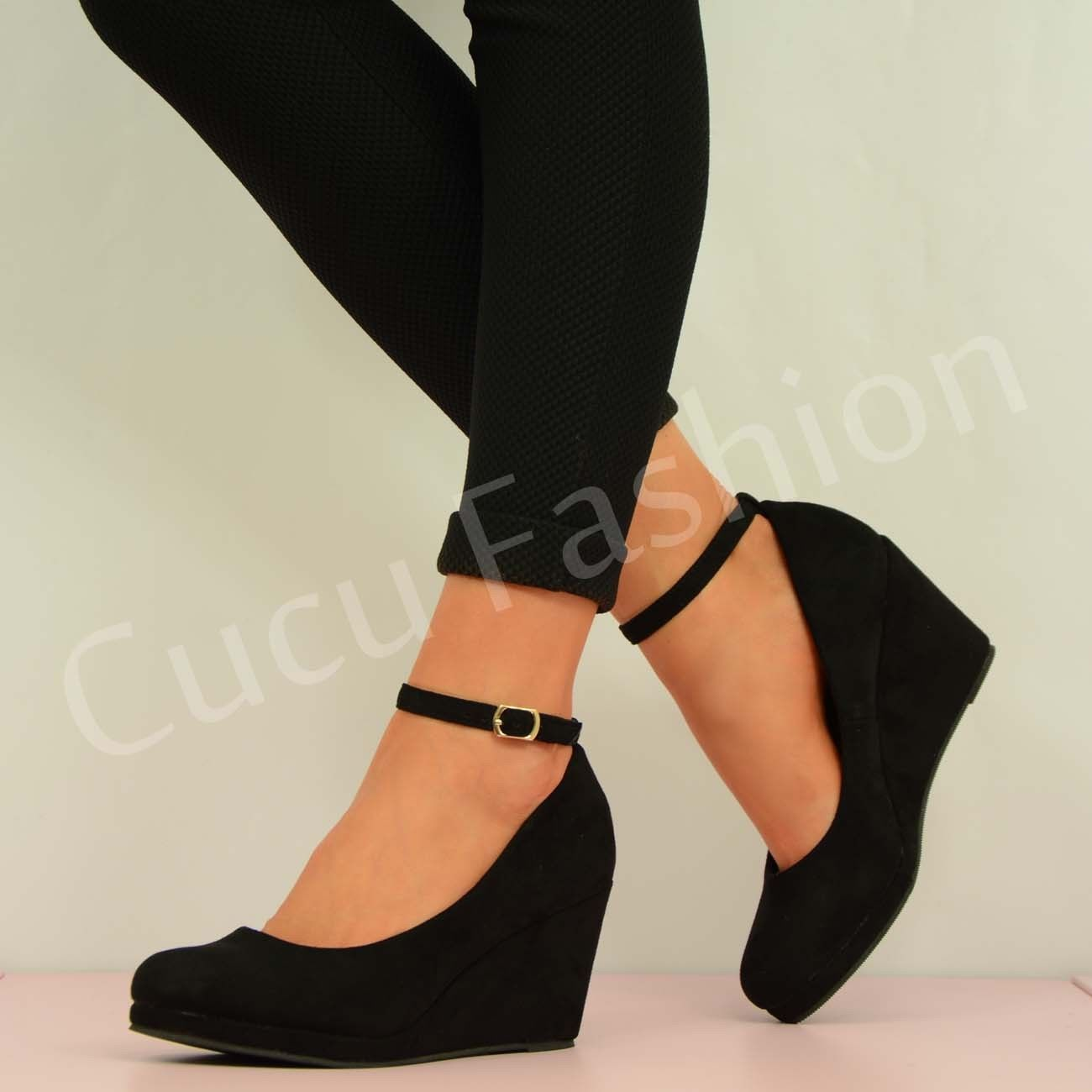 Wedge Heel Ankle Strap Shoes