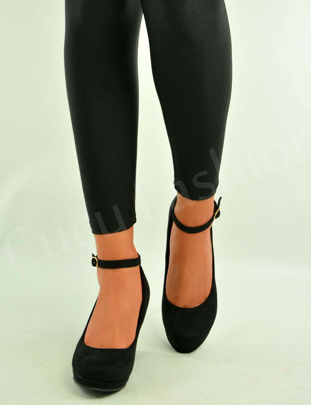 Ladies Womens Wedge Pumps Ankle Strap High Heels Platform