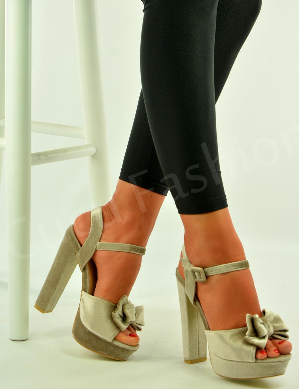 Womens Bow Platform Sandals Ladies Block Heel Ankle Strap Shoes ...