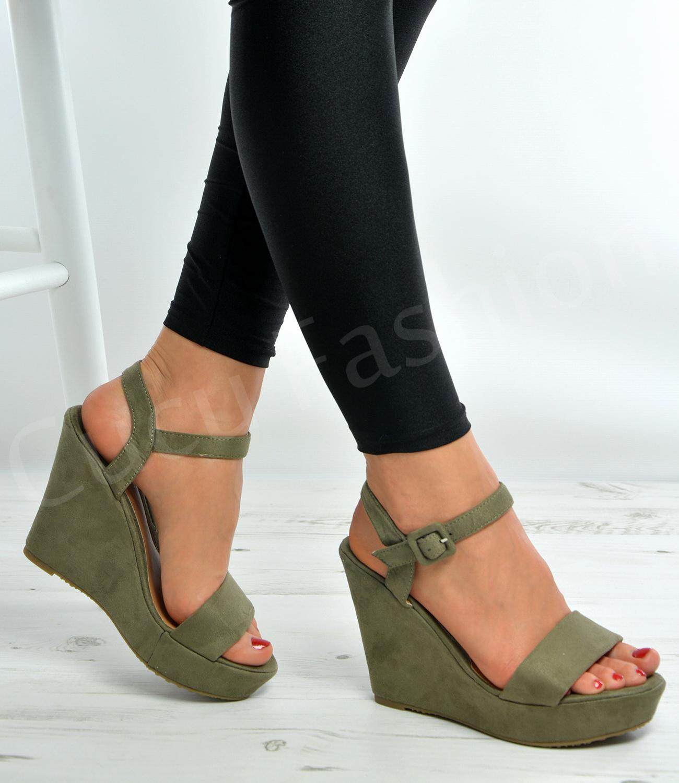 Womens Ladies Ankle Strap Wedge Platforms High Heels ...