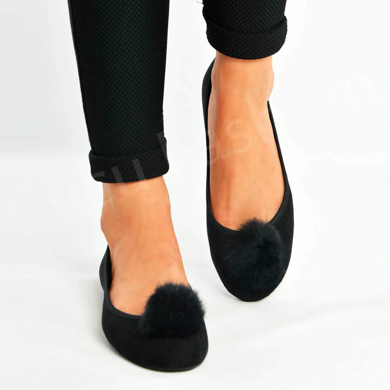 Shoes Dolly On Ballerina Womens Ladies Flat Pom Pumps New Slip zMjVqpULSG