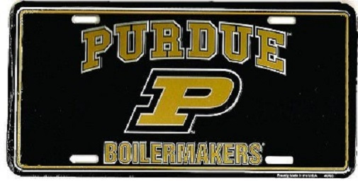 NCAA Purdue University 6 x 12 Full Color Plastic License Plate