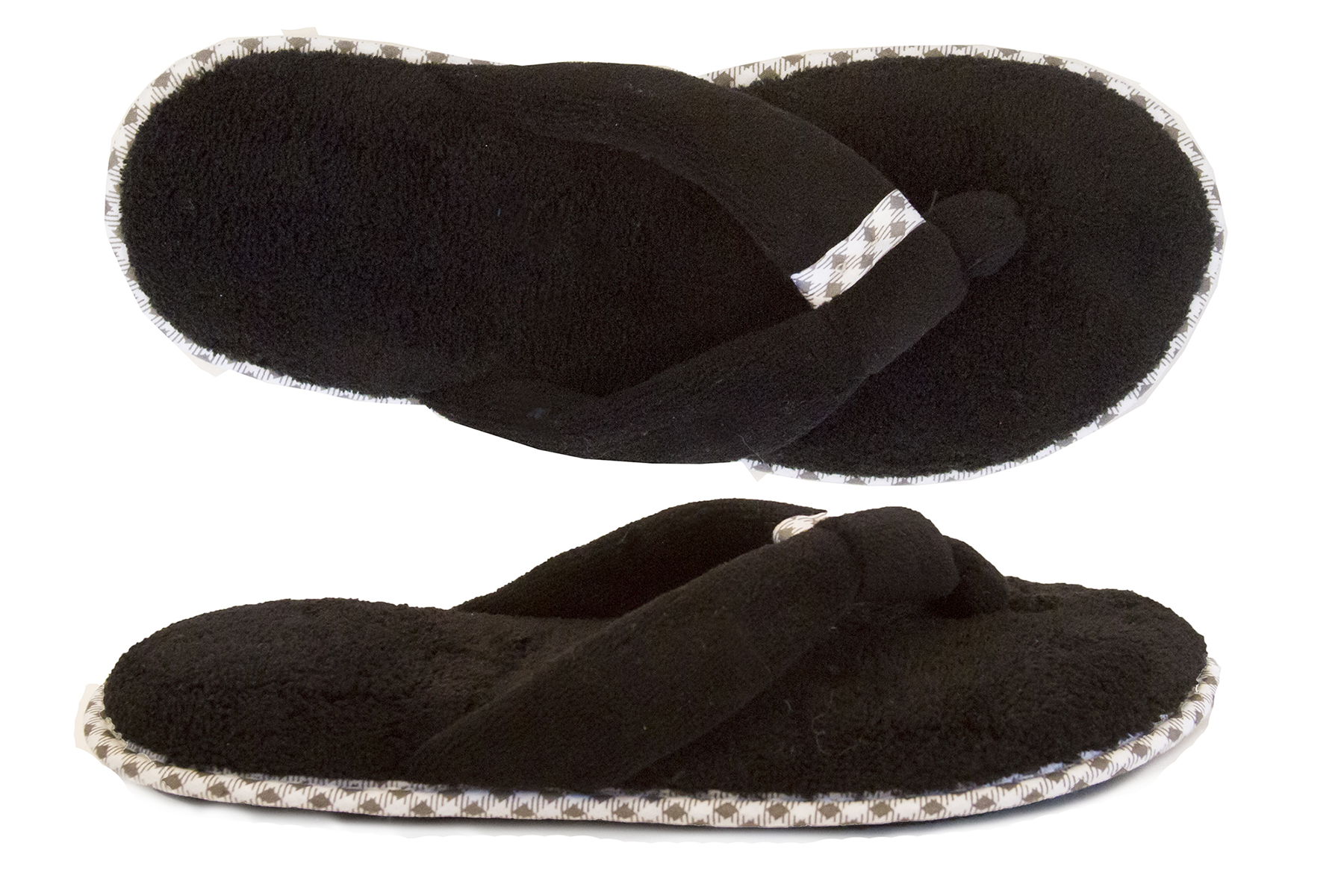 4b77a31f2d41 Isotoner Women s Microterry Olivia Thong Slipper Black 6.5-7