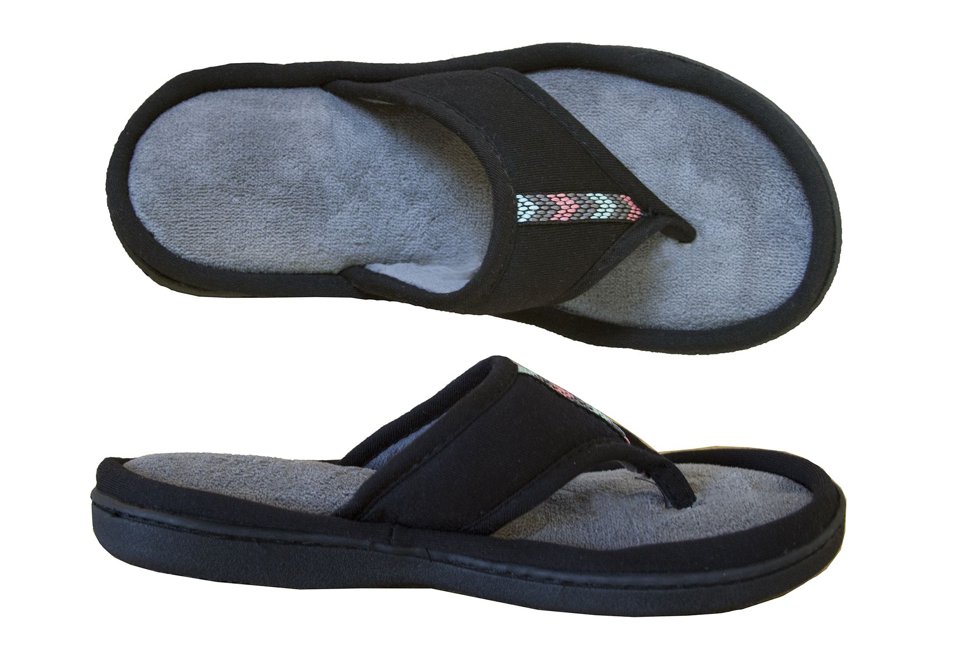f3a4dc88d6bb Isotoner Women s Microterry Jersey Luna Thong Slipper Black 8.5-9