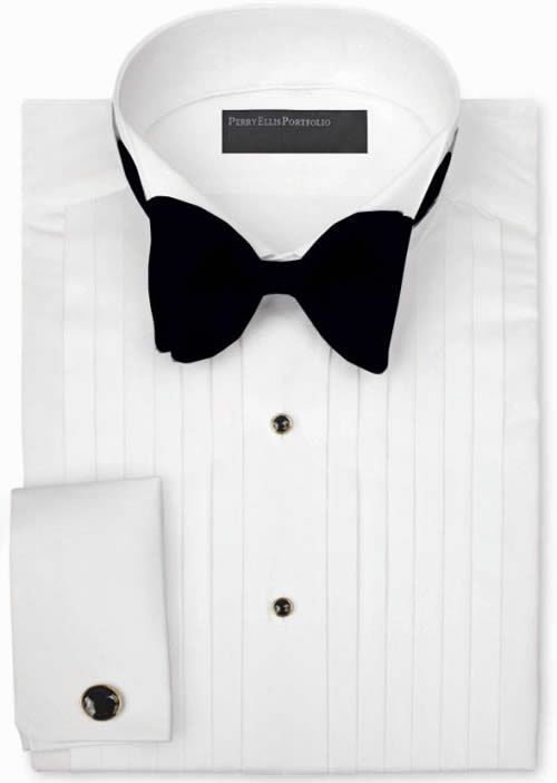 Ike Behar Wing Collar with 1//2 Inch Pleats Tuxedo Shirt