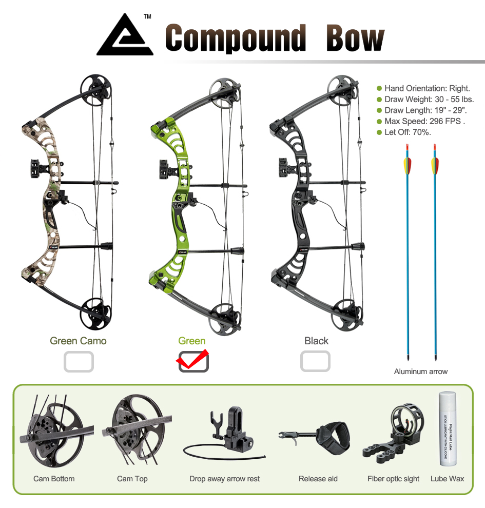 Leader Accessories Compound Bow 30 55lbs 19 Quot 29 Quot Archery