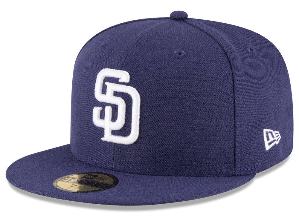37d7bb498ec New Era San Diego SD Padres HOME 59Fifty Fitted Hat (Light Navy) MLB ...