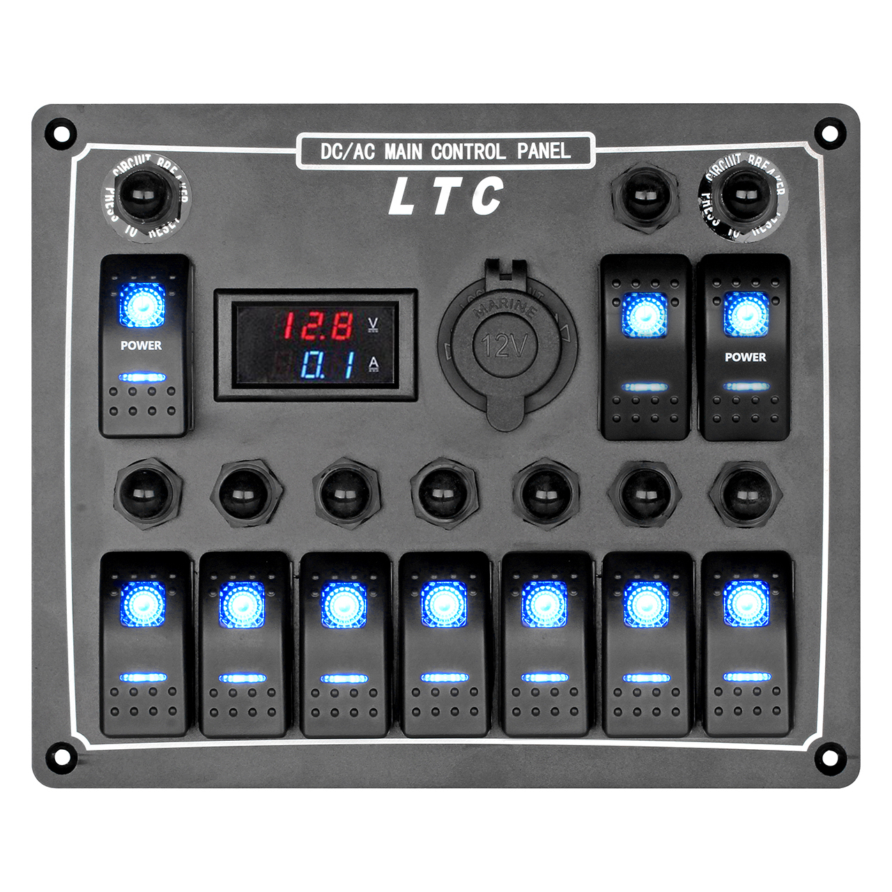 Boat Control Panels : Us marine boat car switch panel gang led rocker blank