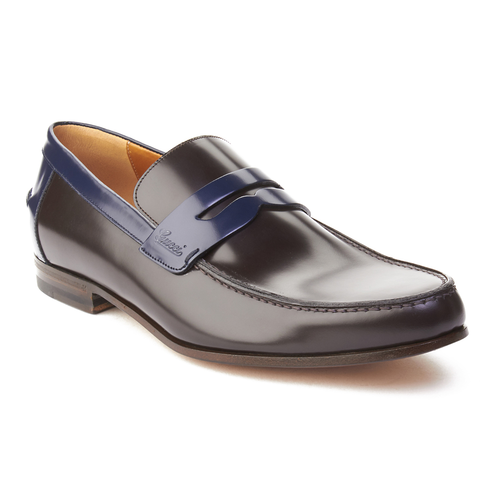2598f9c0592 Gucci Men s Leather Two-Tone Loafer Shoes Dark Brown Royal Blue -  449.99