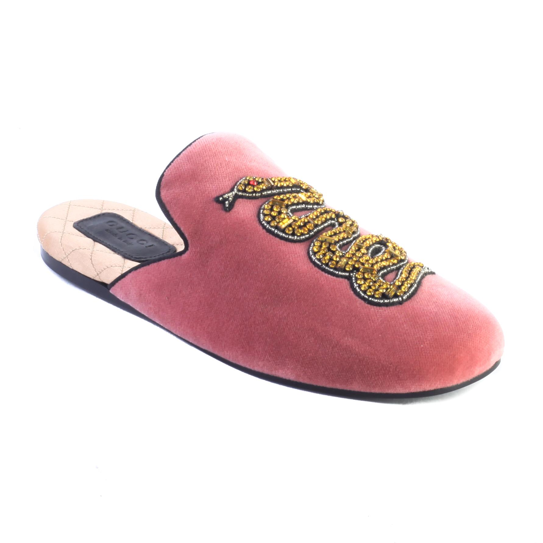Details about Gucci Women s Lawrence Princetown Mule Velvet Snake Sandal  Shoes Pink 418494948