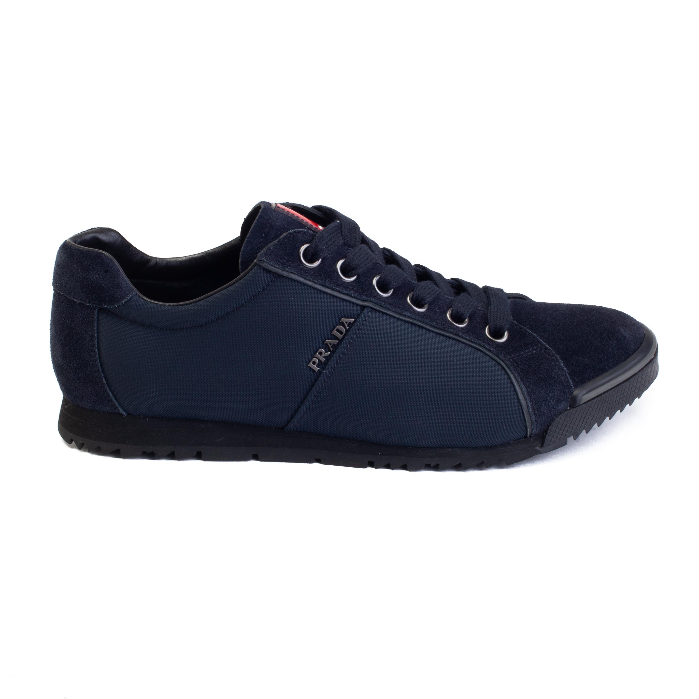 d46472b6068e14 Details about Prada Men's Suede Nylon Low-Top Sneaker Shoes Blue