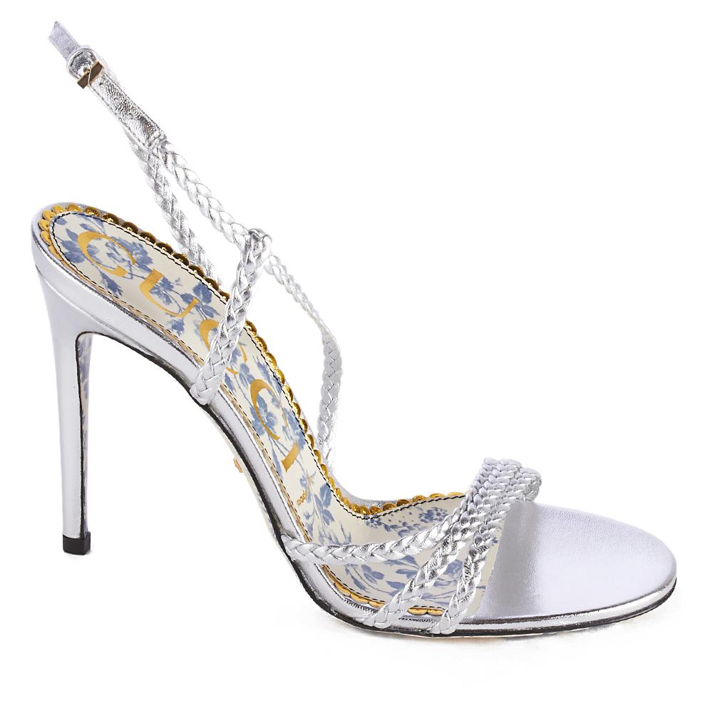 9d139c9fa995 Gucci Women s Braided Metallic Leather Sandal Silver