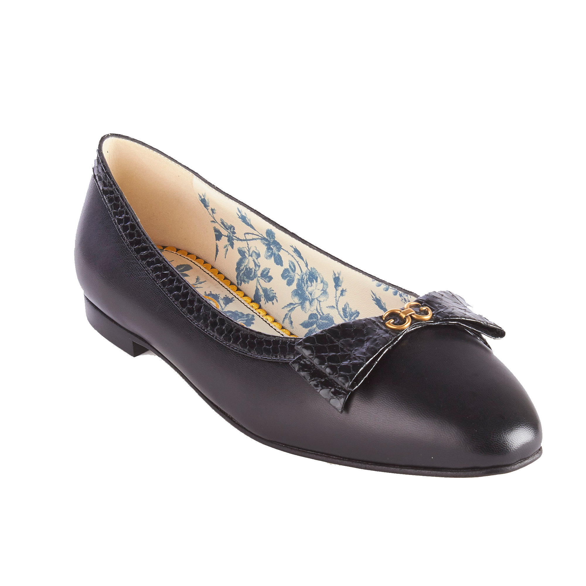 "Black snakeskin bow with GG mirrored detail-Blue rosebuds and Gucci print leather lining-Rounded point toe.5"" height-Made in Italy"