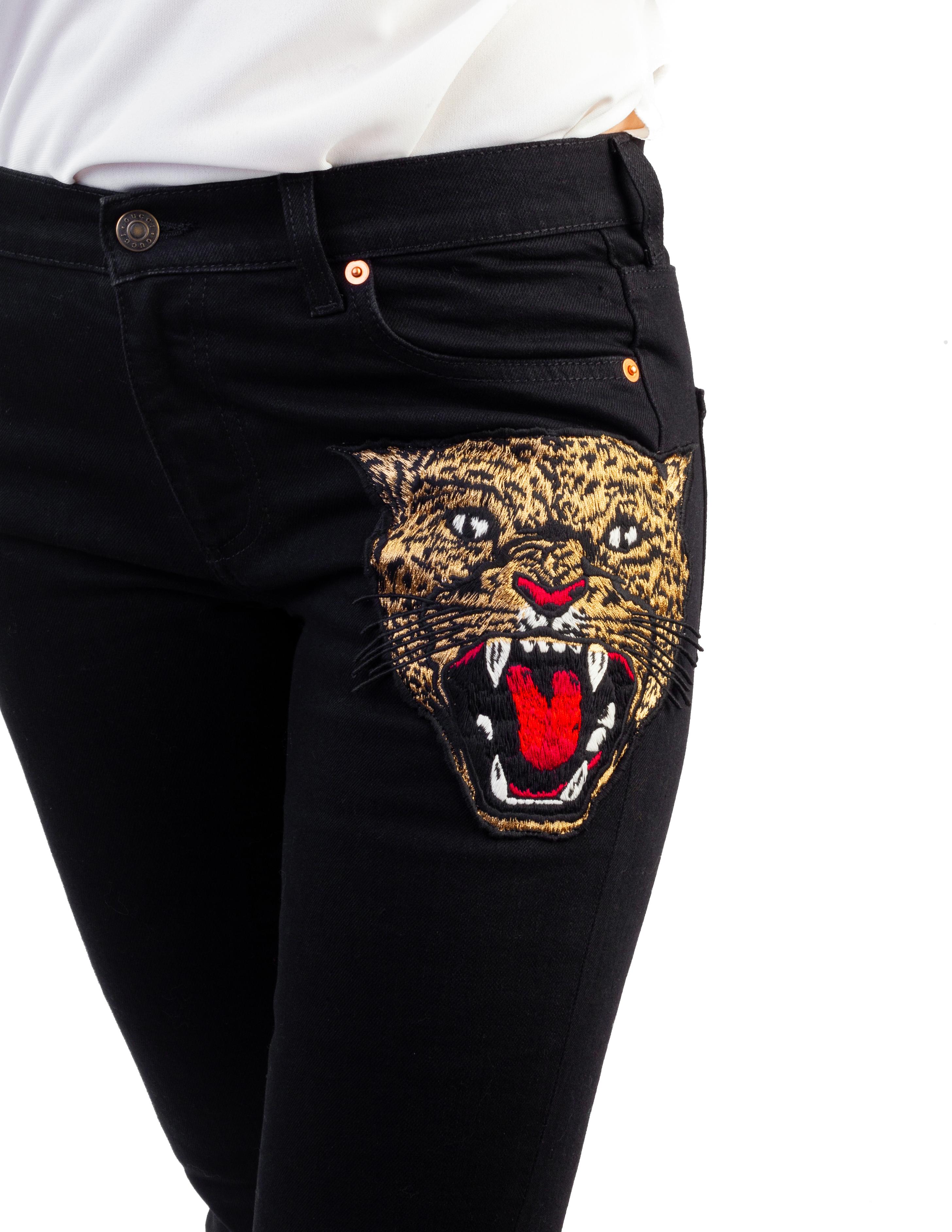 1431c9f2ed Gucci Women's Cotton Embroidered Tiger Applique Denim Jeans Pants Black
