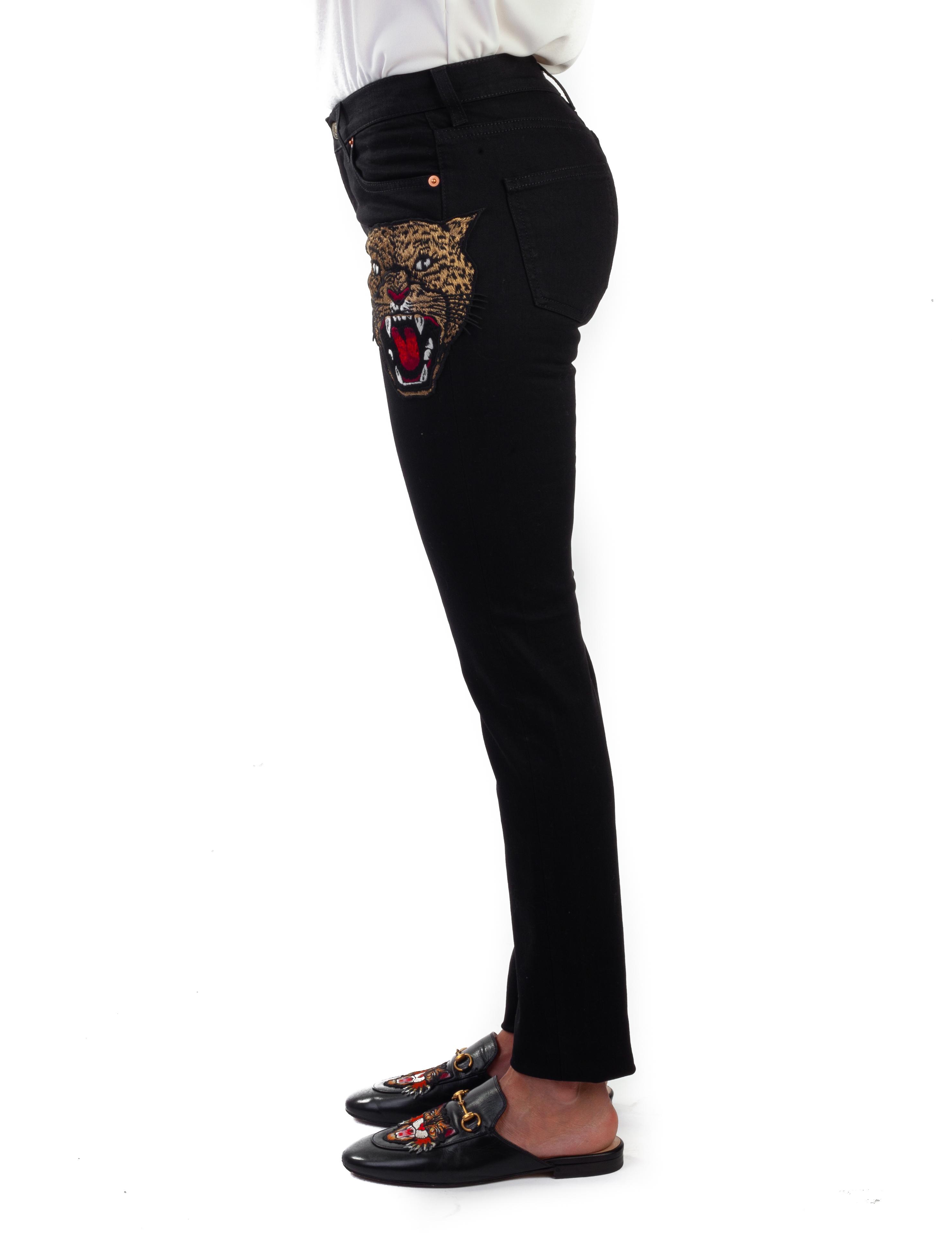 fbef4d0baf2f Cotone tigre ricamata Applique Denim Jeans Gucci donna pantaloni neri