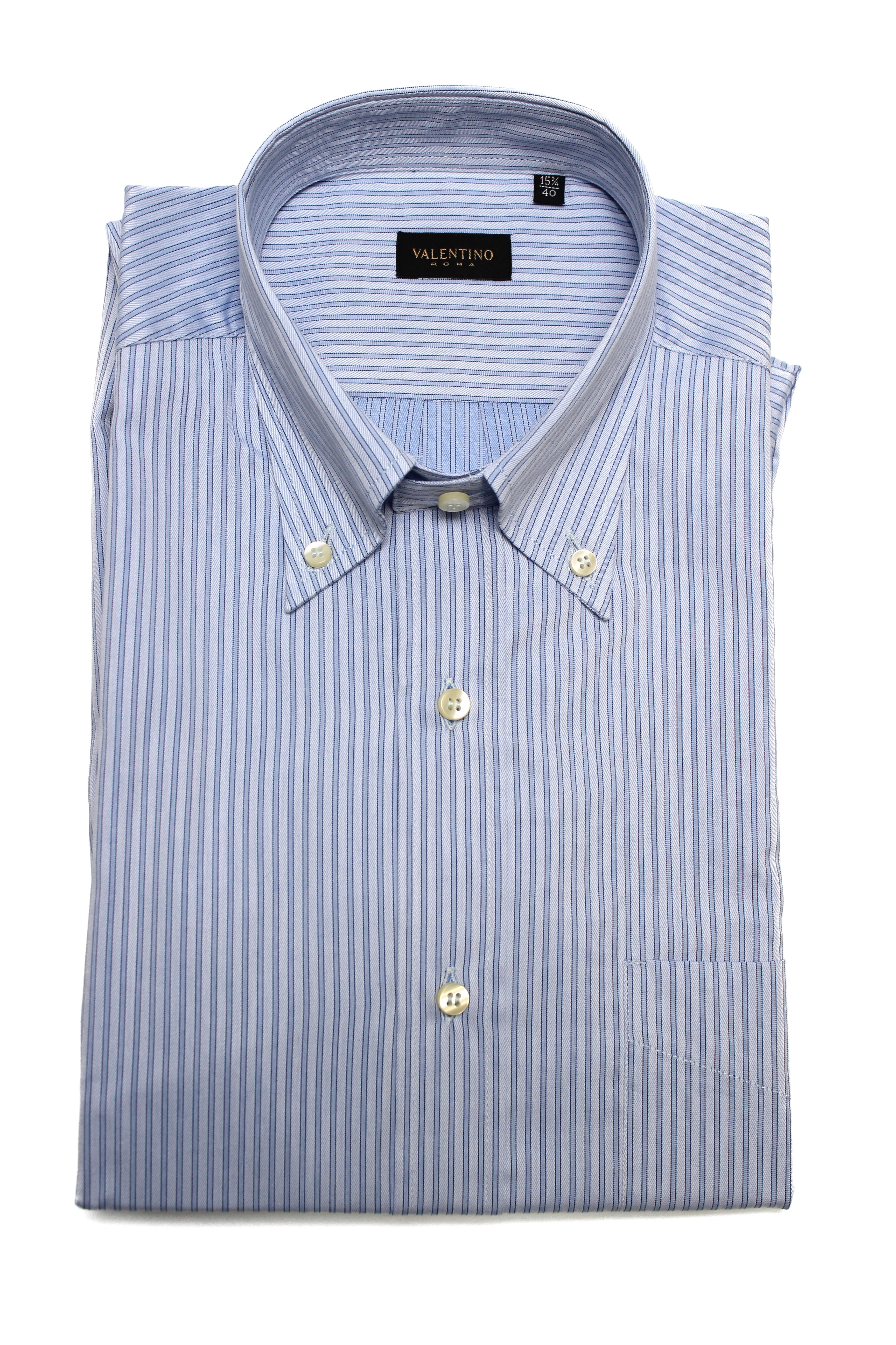 Cotone Valentino uomo abbottonata punto colletto abito camicia bambino blu 6c06dca8fd5