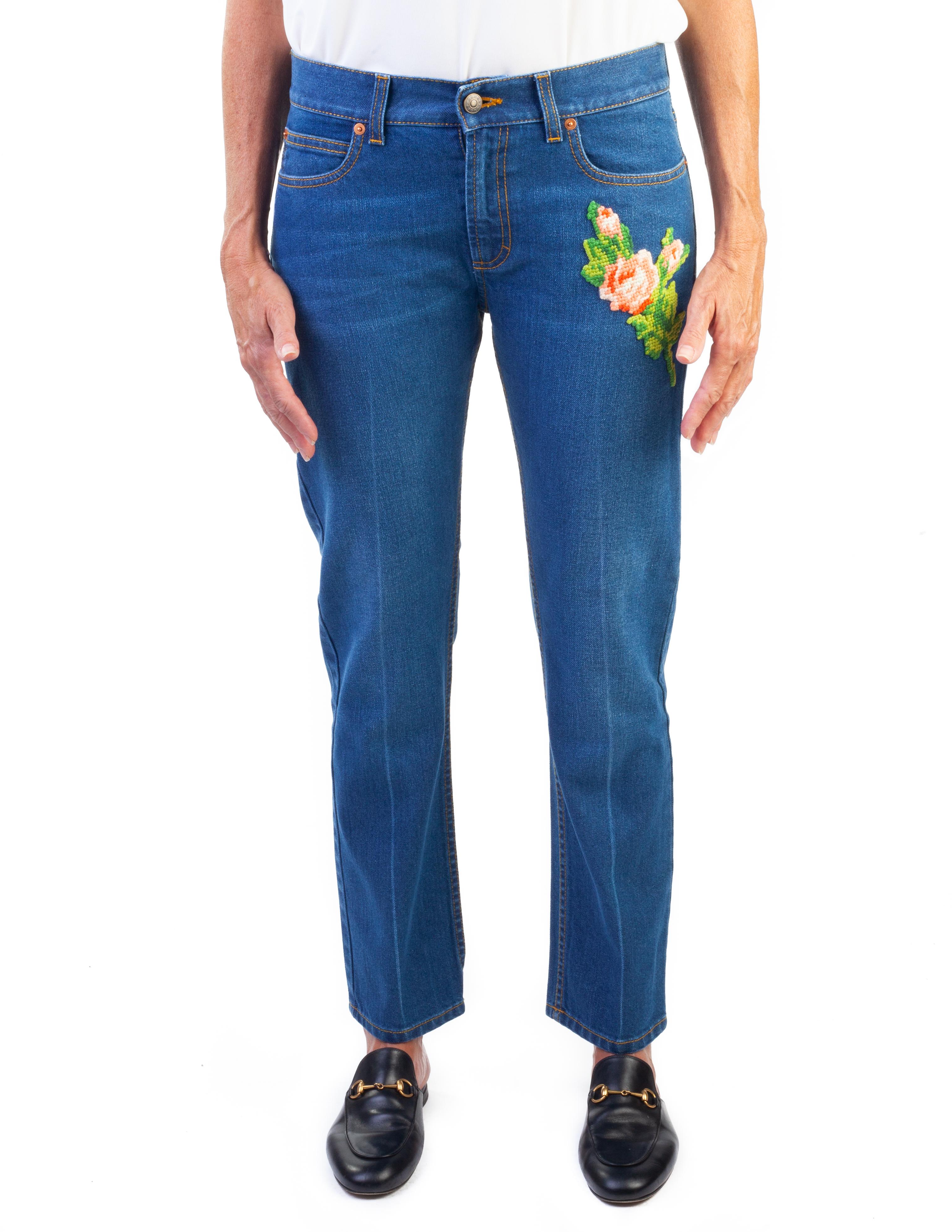 c0aa900ff6d4 Gucci Donna Cotone Ricamato Tigre Applique Denim Jeans Pantaloni Blu ...