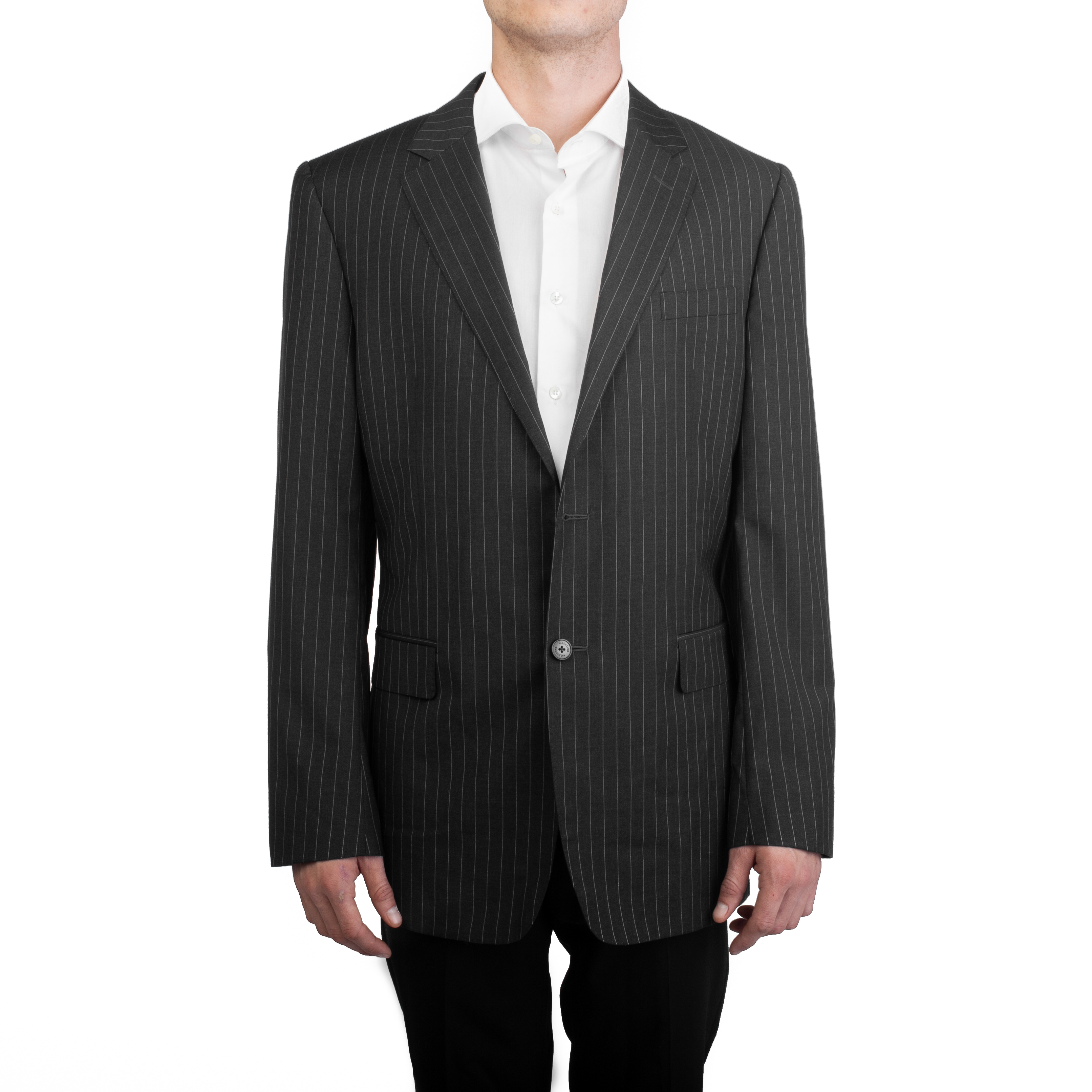 cae46eced80d Due Valentino uomo bottoni in pile lana Pinstripe Suit Jacket Black