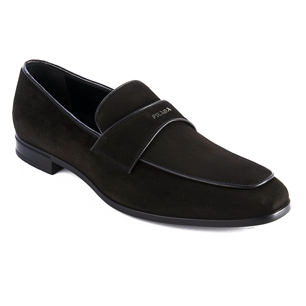 ad6ae68ed61 Details about Prada Men s Vitello Leather Suede Loafer Shoes Black