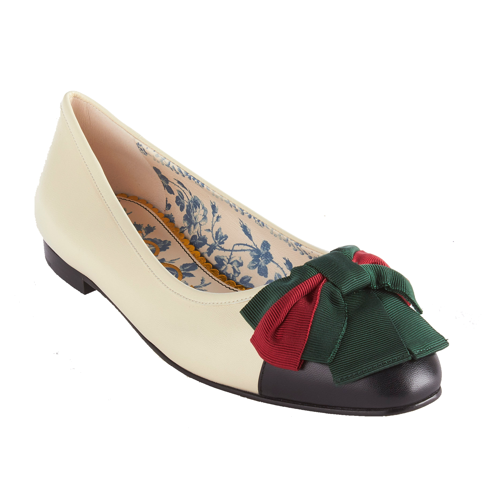 "Black and vintage white leather-Green and red Web grosgrain bow-Blue rosebuds and Gucci print leather lining.5"" height-Made in Italy"