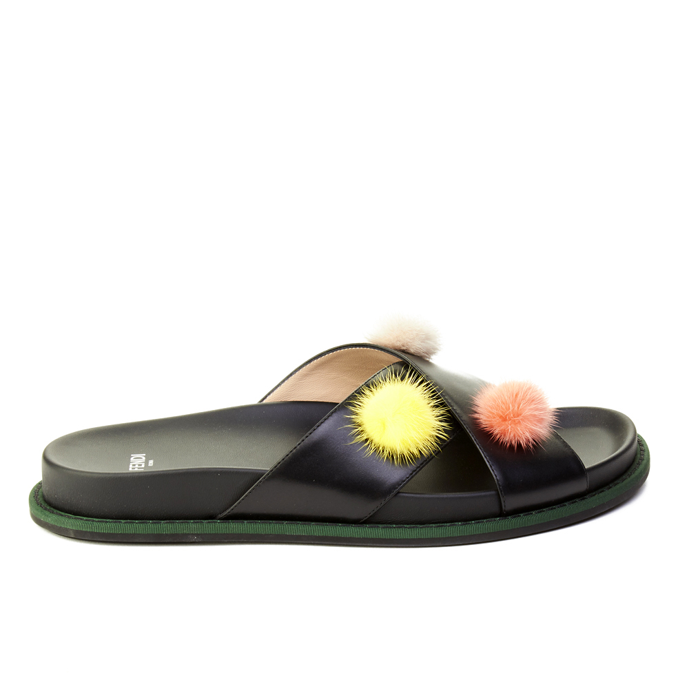 61c5b8605c3c Fendi Women s Leather Pom-Pom Flat Sandal Shoes Black