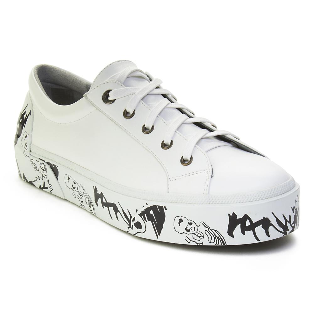 6426c781786f Lanvin Men s Leather Graffiti-Sole Derby Sneaker Shoes White