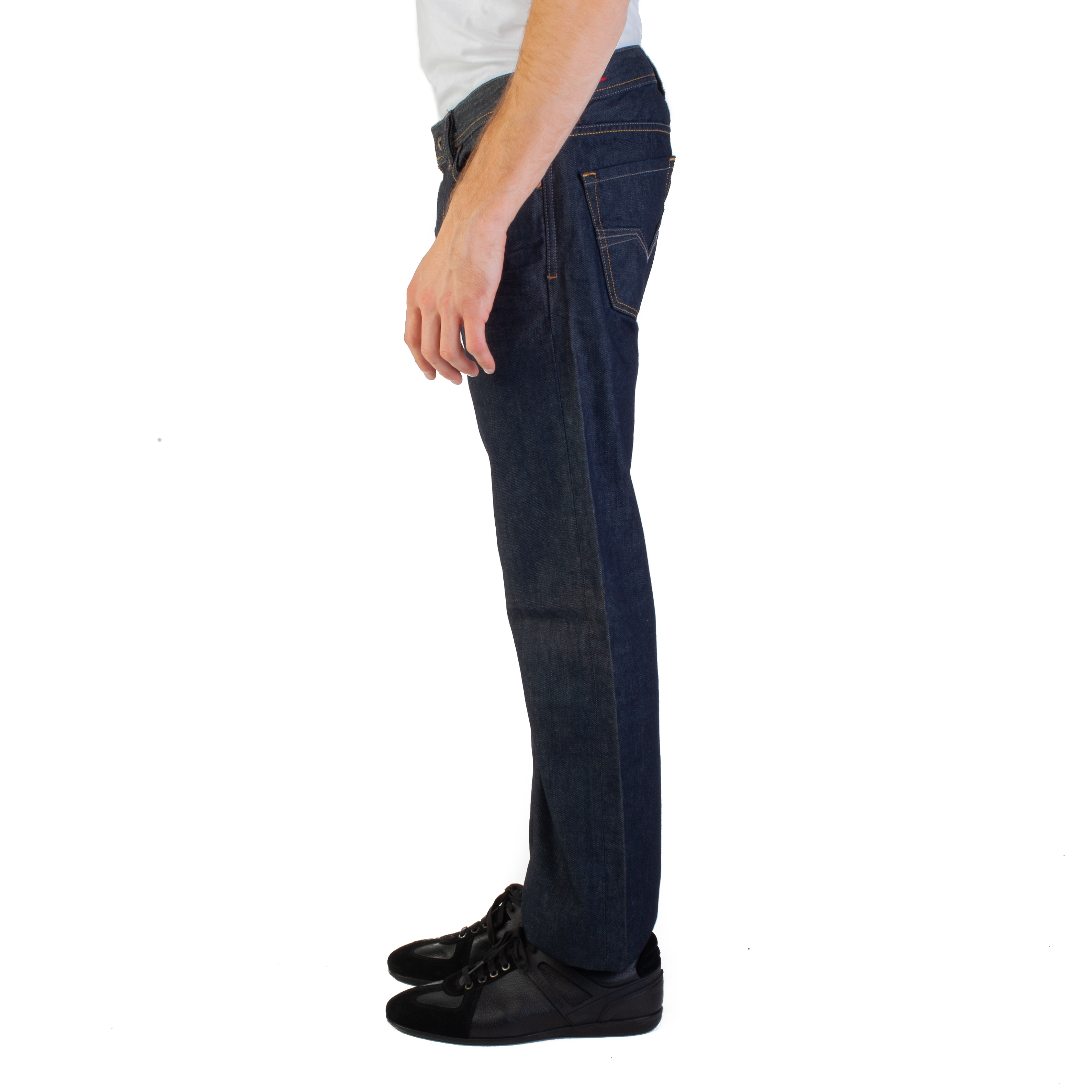 diesel 008Z8 Regular-Straight Fit Larkee maschile pantaloni jeans blu scuro c8a343a6042