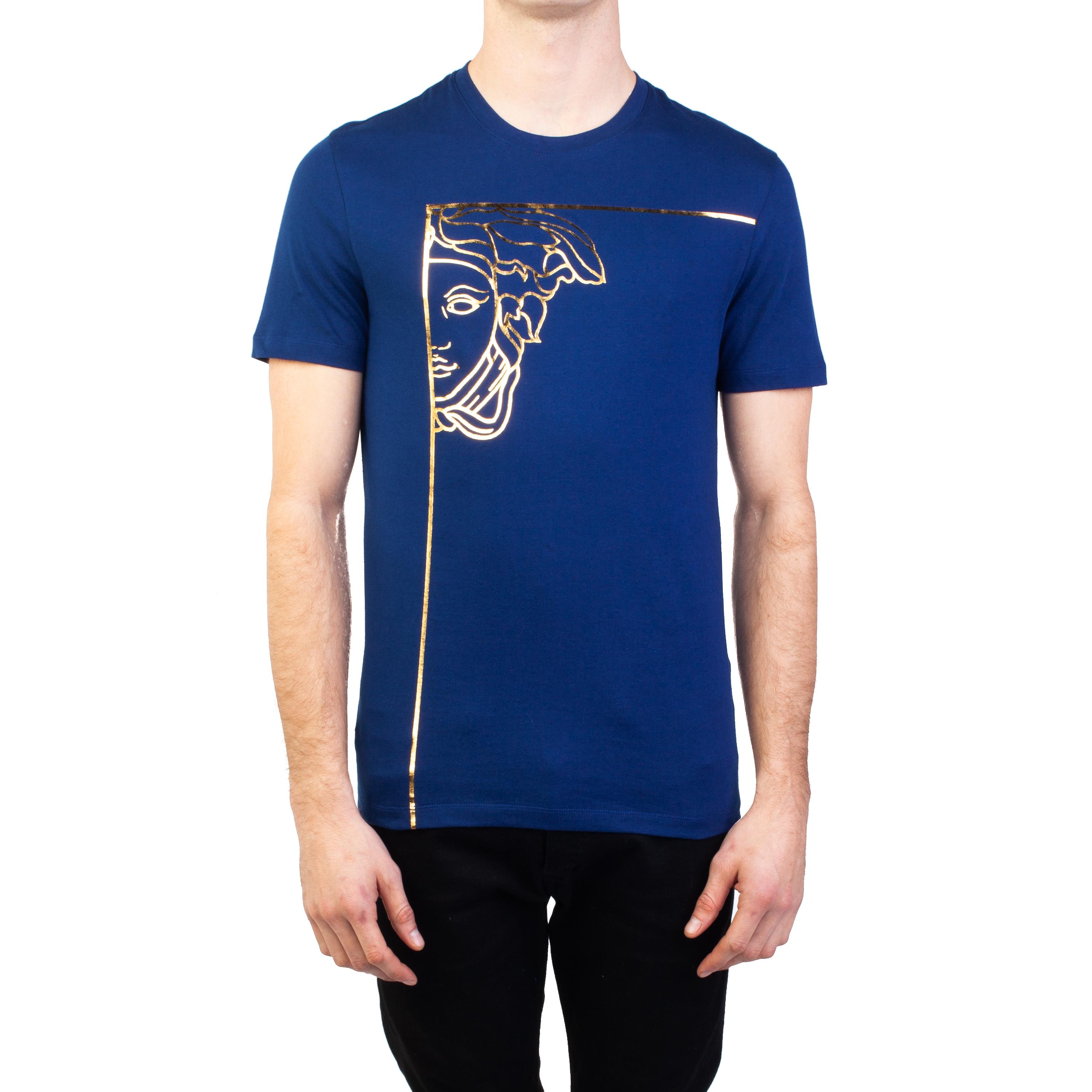 5c237ff3 Details about Versace Collection Men's Cotton Angular Medusa Graphic T-Shirt  Blue Gold