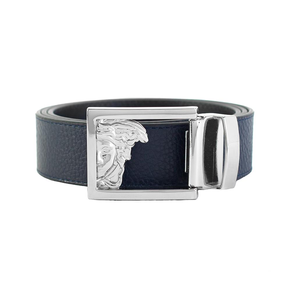 620a801a Details about Versace Collection Men's Medusa Steel Buckle Leather Belt  Navy Blue