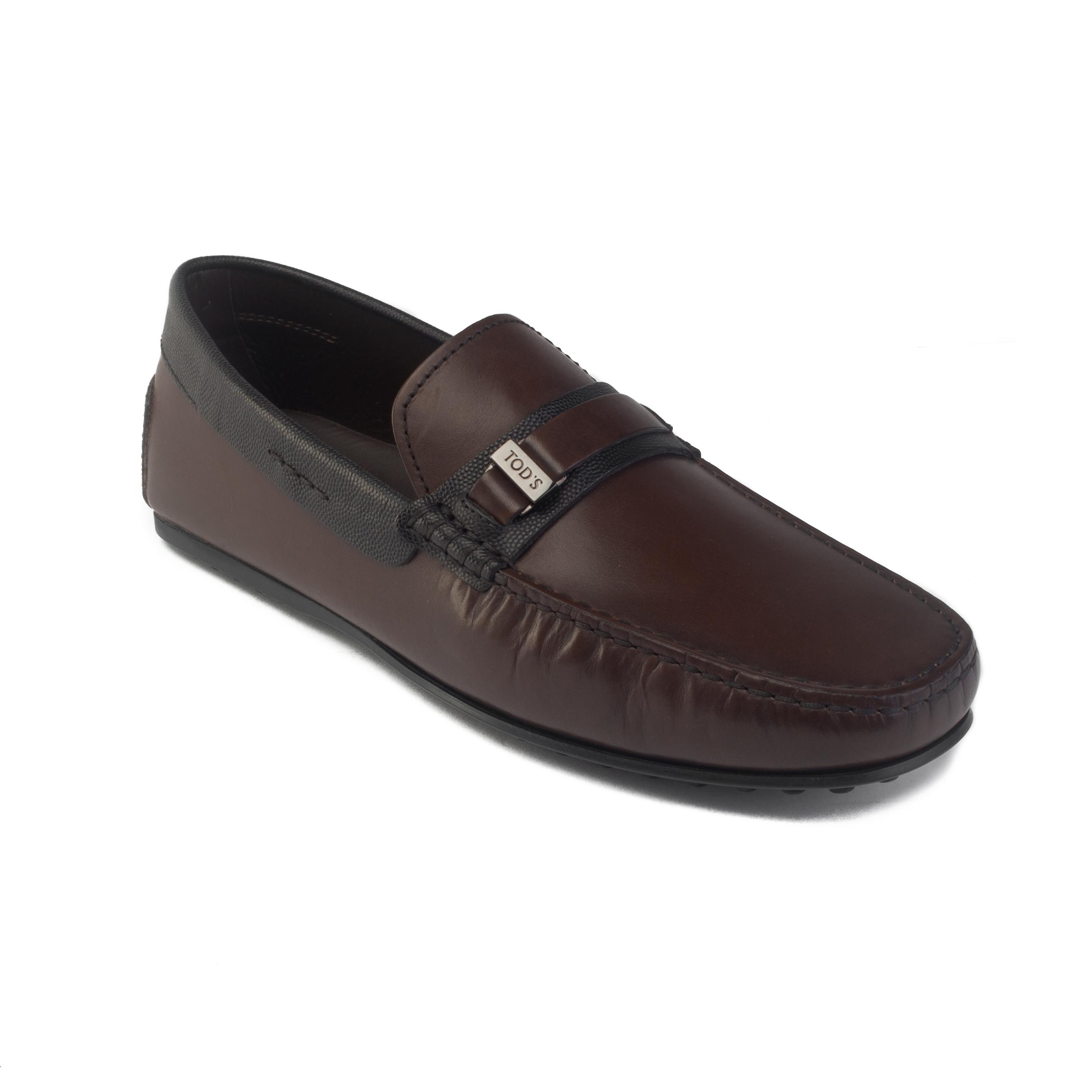 sensation de confort nouveau style de professionnel de la vente à chaud Détails sur Tod's Homme Cuir Gommino Mocassins Conduite Chaussures Marron