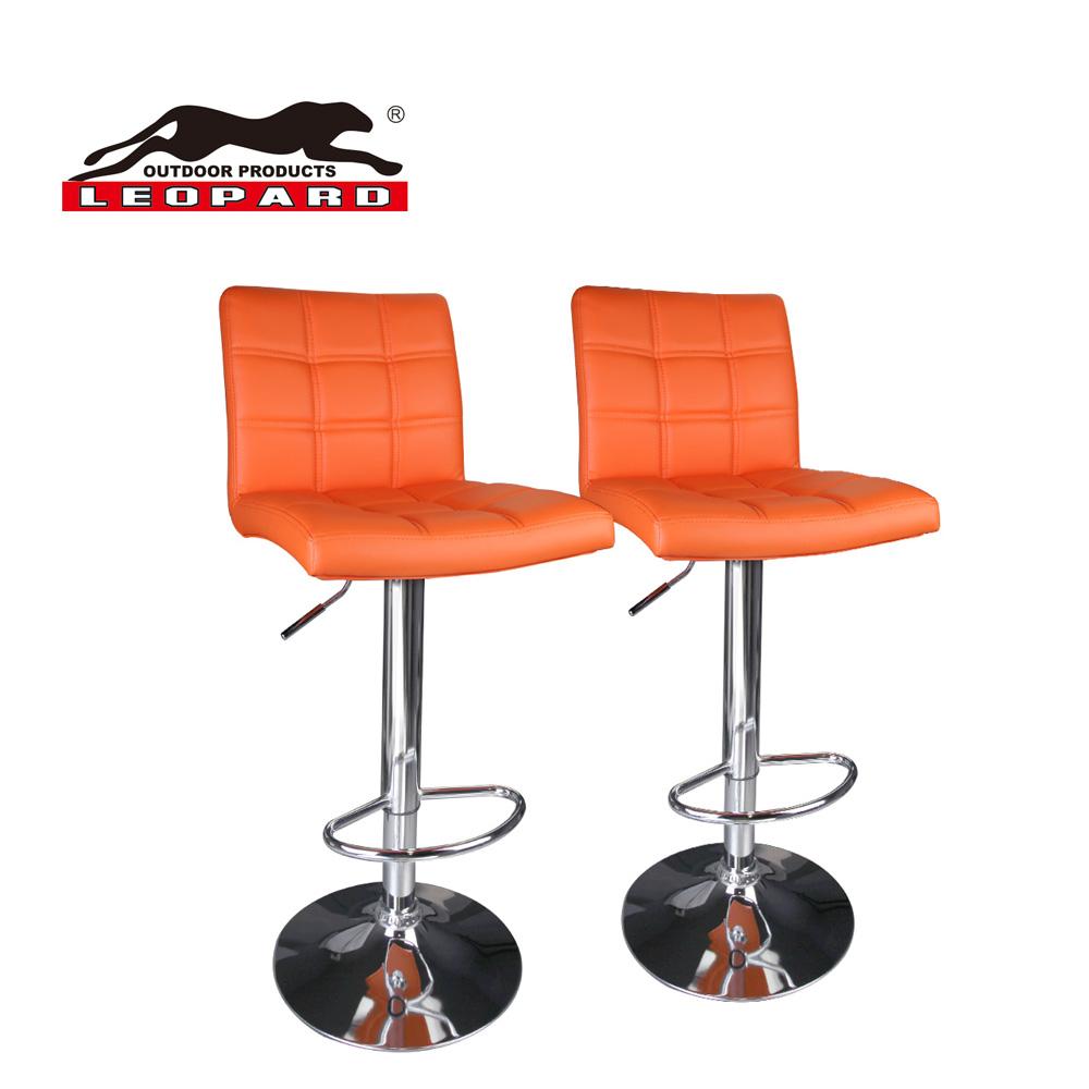 Leopard Modern Square Back Pu Leather Adjustable Bar Stools Set Of 2