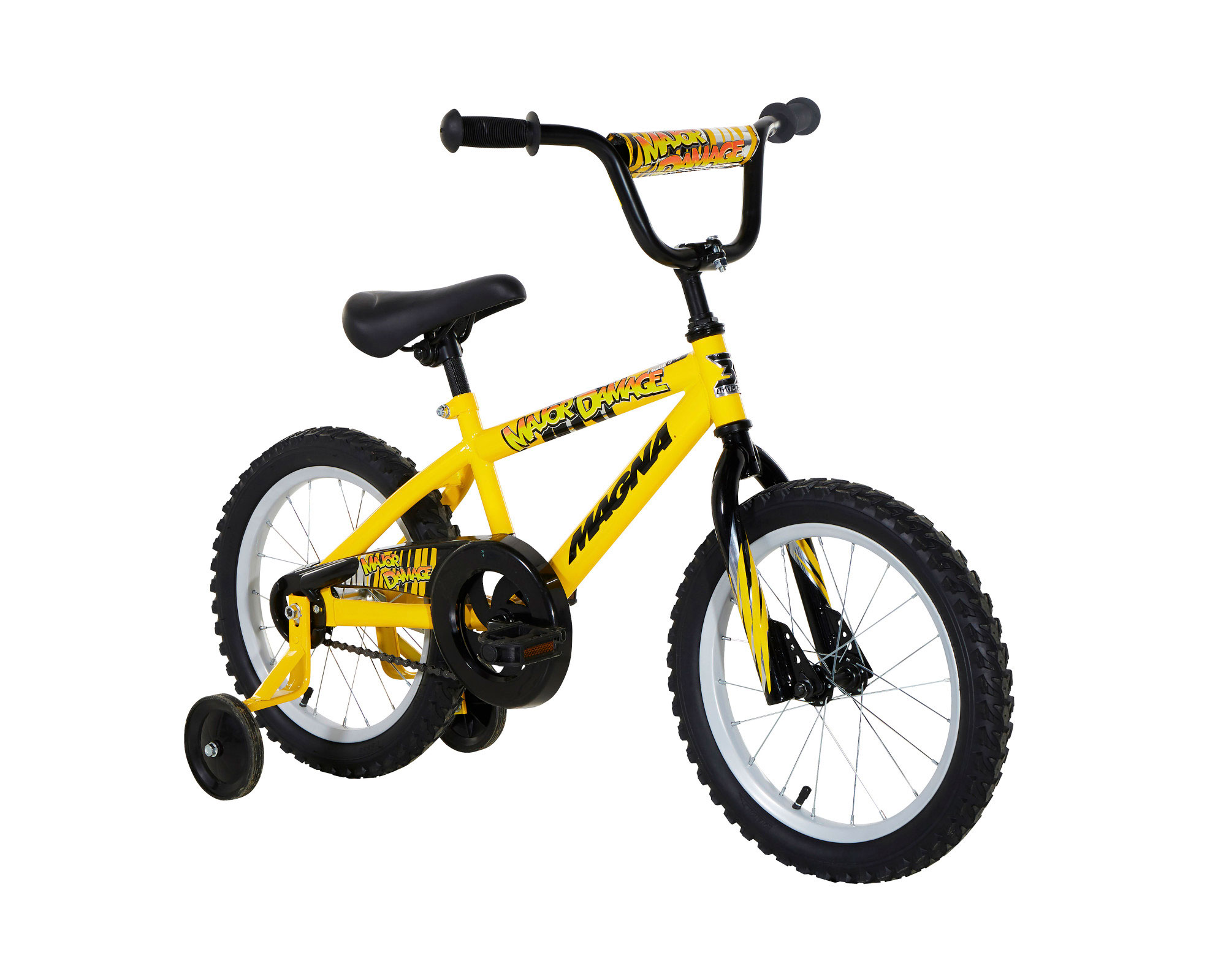 "BMX Bike Ages 4-8 16/"" Boys Bike Training Wheels Yellow Magna Major Damage"