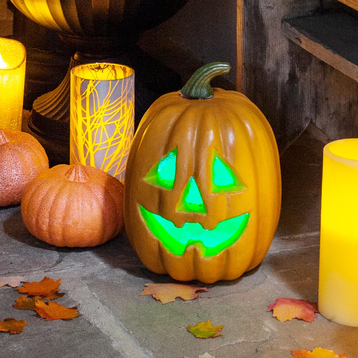 Color Cambiante LED con Pilas Calabaza de Halloween Jack-O-Lantern ...