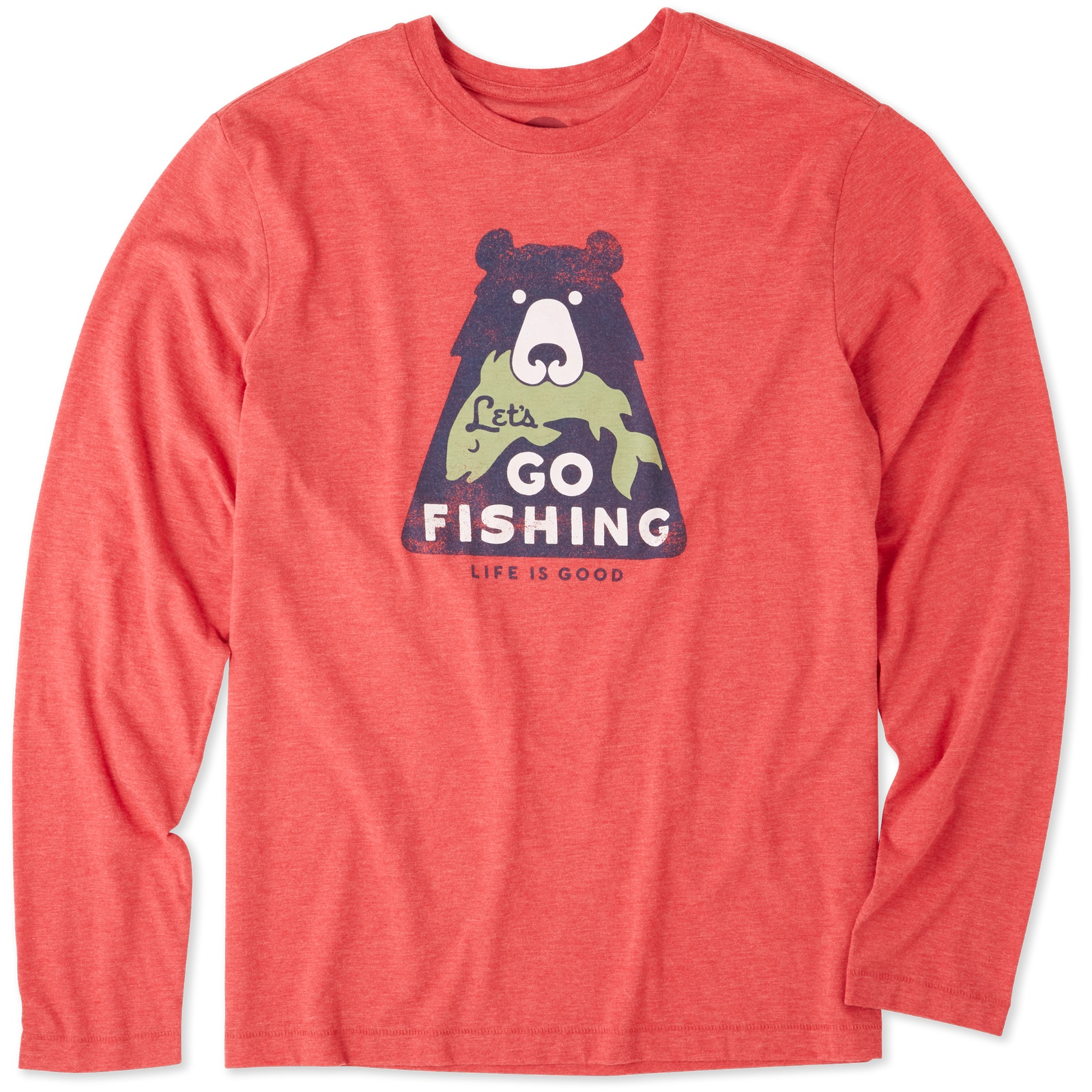4920619f1d5aac Details about Life is Good. Mens Long Sleeve Cool Tee: Let's Go Fishing ,  Americana Red