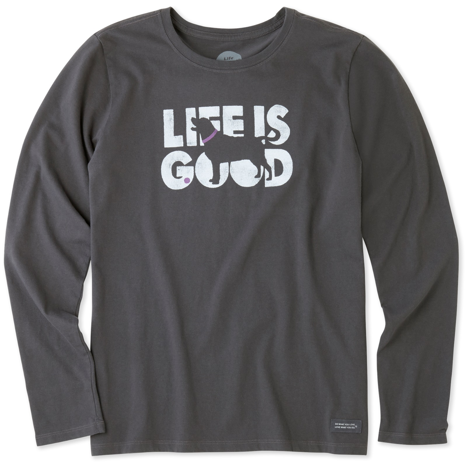 8977d90775b Details about Life is Good. Womens Long Sleeve Crusher Tee  Knockout Dog