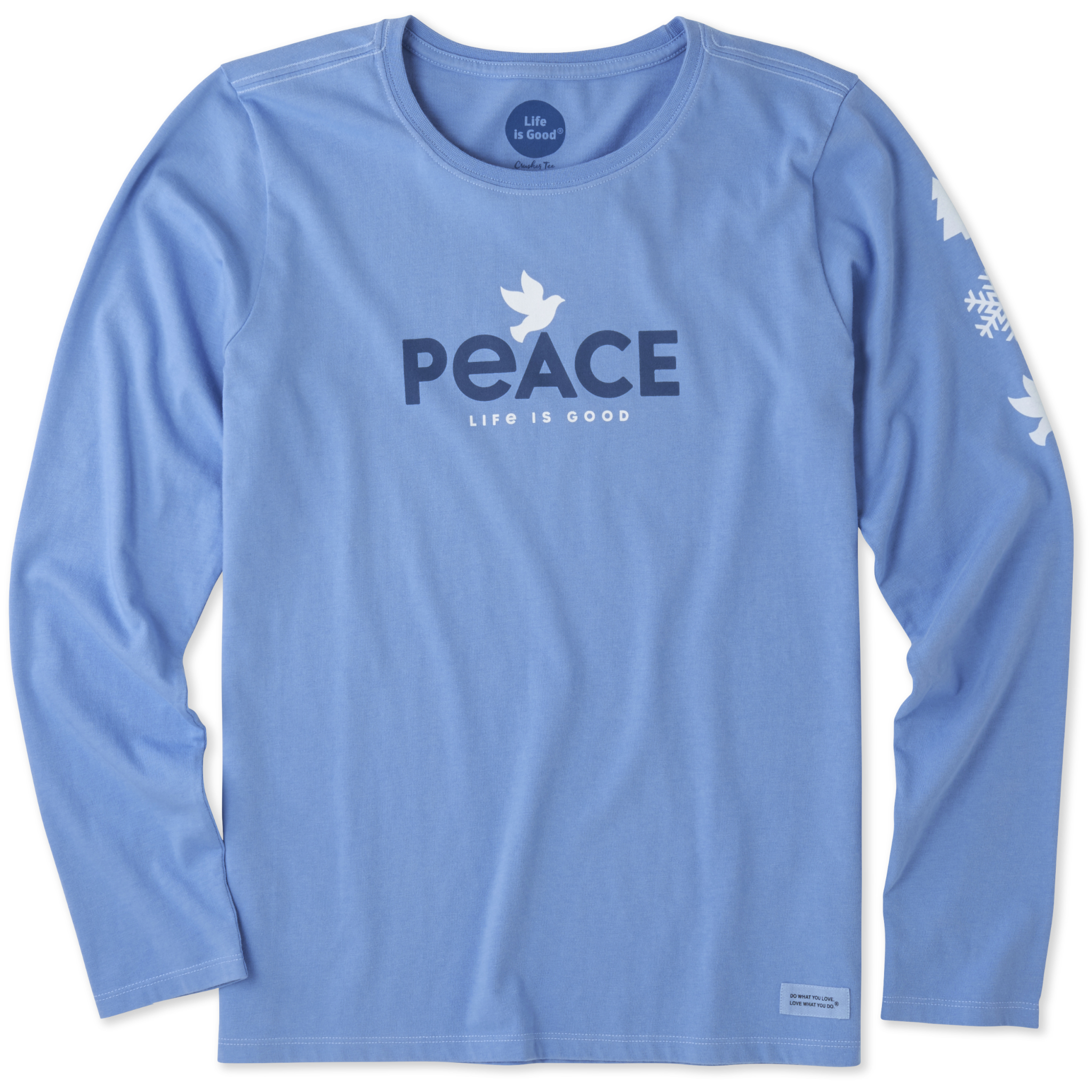 00d7dd8ebbb7a6 Details about Life is Good. Womens Long Sleeve Crusher Vee: Peace Dove,  Powder Blue