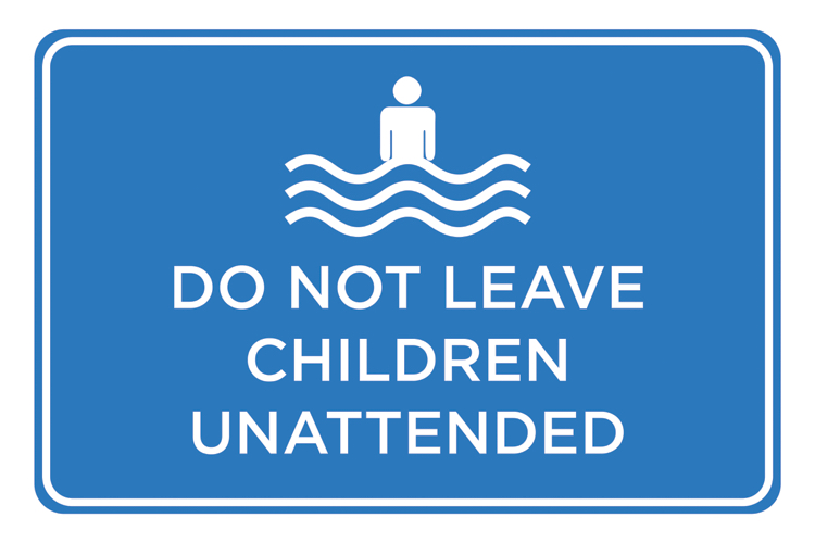Details about Do Not Leave Children Blue Print Poster Swimming Pool Area  Rules Sign 12x18