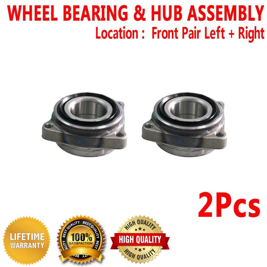 Image is loading 2X-Front-Left-Right-Wheel-Hub-Bearing-Assembly-