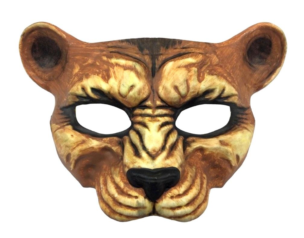 53e47f0ca286 Leopard Costume Half Mask Animal Adult Hand Painted Cheetah Cat ...