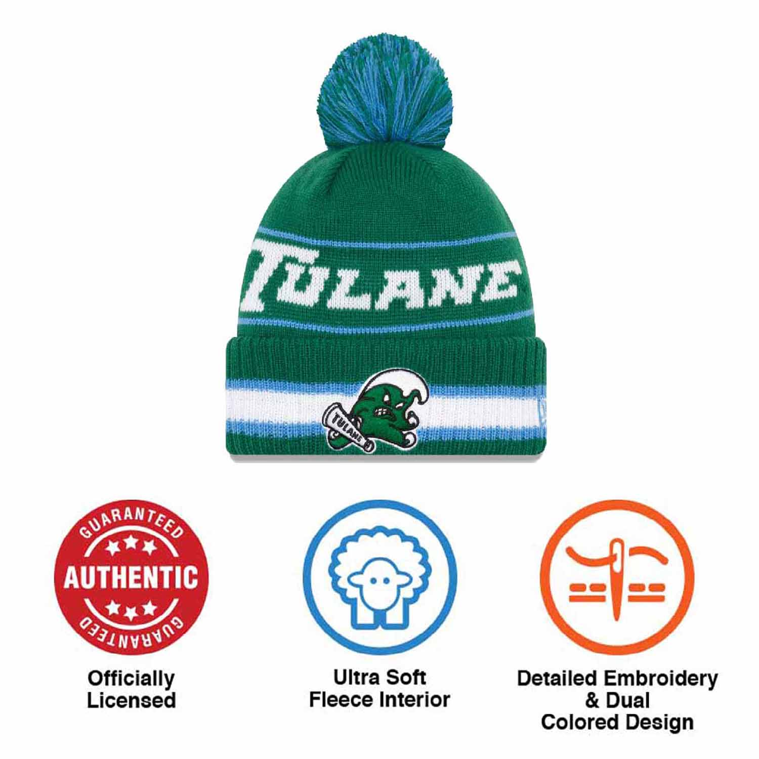 buy online 1f745 4e5cd ... best tulane green wave college vintage select knit pom beanie green  2fb3e 217cf