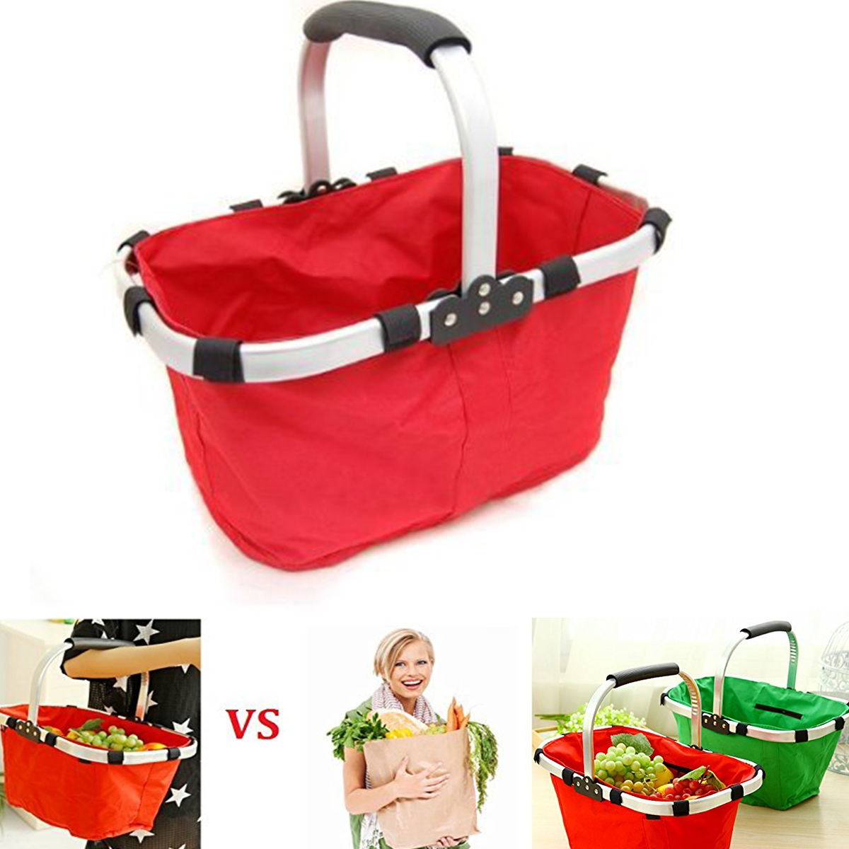 Collapsible foldable travel hand picnic storage basket shopping hamper w handle - Collapsible waste basket ...